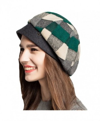 Maitose Women's Scottish Plaid Wool Peaked Cap Beret - Green - CI1293F4M35