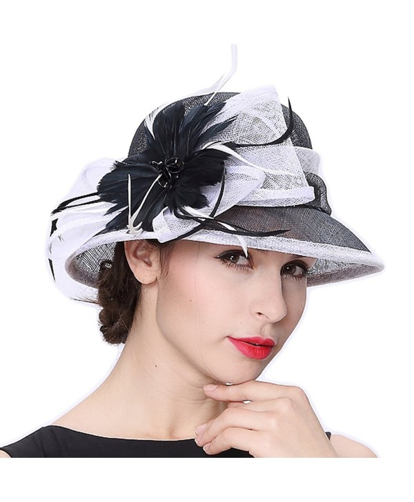 June's Young Women Hats Summer Hat Sinamay Feather Black - Black/White - CZ12F7TUMZD