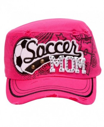 TopHeadwear Soccer Mom Distressed Adjustable Cadet Cap - Hot Pink - CL11NZJ8FPH