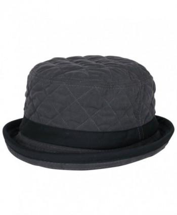 ililily Soft Quilted Crushable Black hatband Upturn Porkpie Bucket Hat - Charcoal Grey - CH188ZUG4Z4
