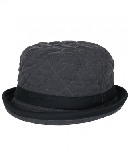 ililily Soft Quilted Crushable Black hatband Upturn Porkpie Bucket Hat -  Charcoal Grey - CH188ZUG4Z4 13efd4f1659c