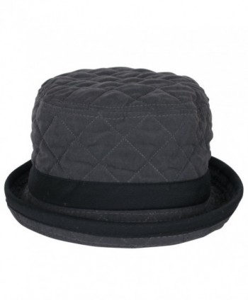 58da0f4da9c ililily Soft Quilted Crushable Black hatband Upturn Porkpie Bucket Hat -  Charcoal Grey - CH188ZUG4Z4  ililily Quilted Crushable hatband Charcoal ...