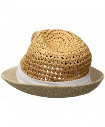 16532abece4 Women s Two Weave Banded Fedora - White - C312ODX5AAI