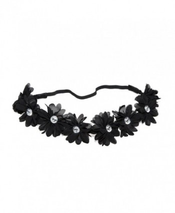 Lux Accessories Coachella Fabric Flower Rhinestone Stretch Headband Chiffon Floral Head Band - Black - CH11N0PJZTB