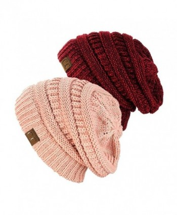 NYFASHION101 Exclusive Unisex Two Tone Warm Cable Knit Thick Slouch Beanie Cap (2 Tone Rose & 2 Tone Burgundy) - CV12O80MIJY