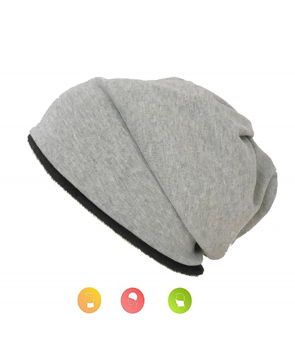 W&Y YING Three-Ways Winter Warm Soft Knit Men Women Slouchy Beanie Hat Skull Cap - Black+light Grey - CO188Q7GCW2