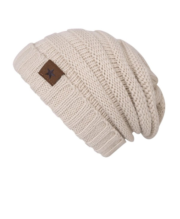 ADUO Beanie Hat- Women's Winter Fleece Lined Cable Knitted Beanie Hat - Beige - C8186G4GY52