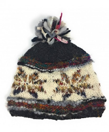 Hand Knit Womens Wool Pom Pom Hat Warm Fleece Lined Nepal - Gray - C012O7WRGBW