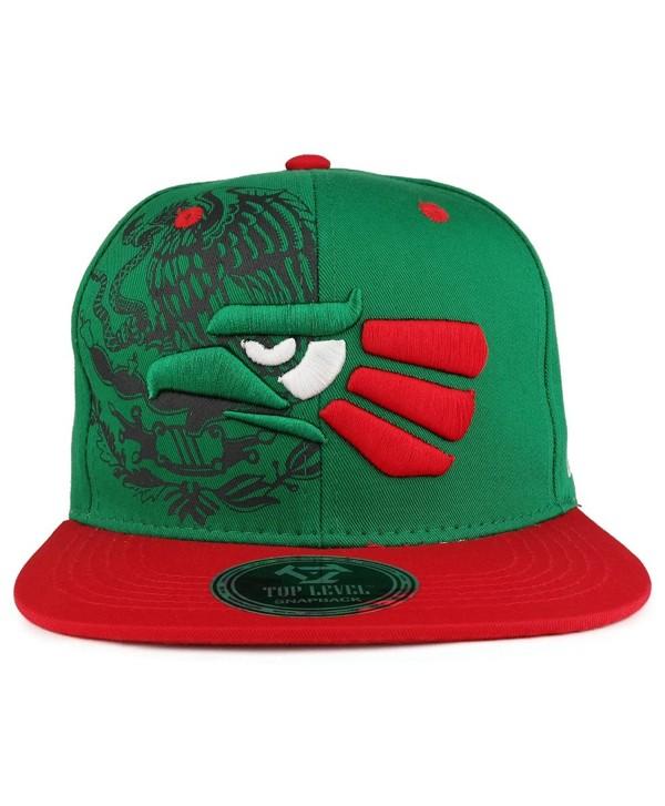 Trendy Apparel Shop Hecho EN Mexico Eagle 3D Embroidered Flat Bill Snapback Cap - Green Red - C8185QZWHMC