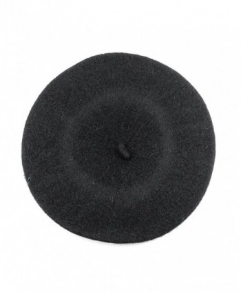 NYFASHION101 French Style Lightweight Casual Classic Solid Color Wool Beret - Charcoal Gray - CM11NIY72RB