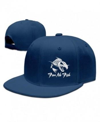 GAMMAGU Fear No Fish Embroidery Plain Baseball Hats Trucker Cap - Navy - CF189LAK9LQ