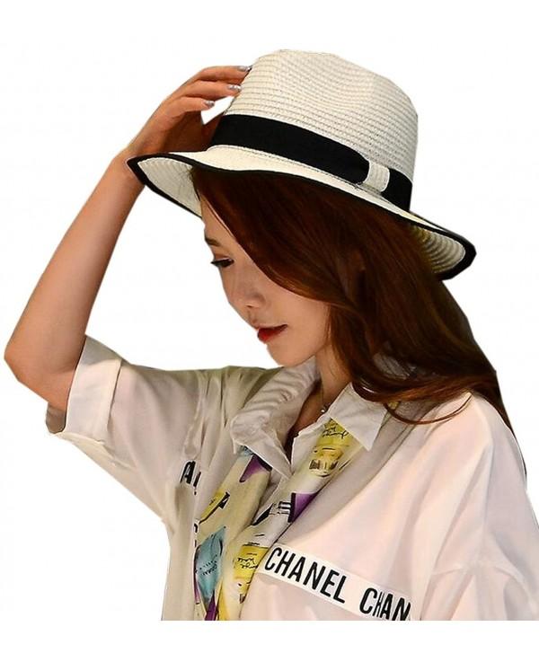 SYTX Women Holiday Travel Wide Beach Sun Straw Hat Cap - 1 - CU17Y0R4XR6