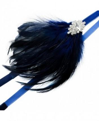 Zivyes Feather Headpiece Flapper Headband - C-navy - CP188ZL8SQC