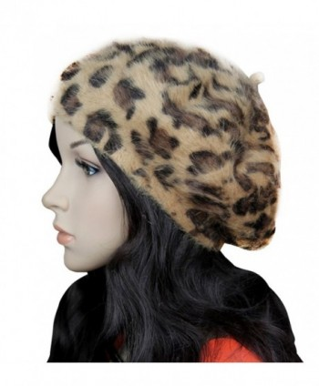 Faux Fur Leopard Print Berets Soft Warm French Style Painter Hat Cap - Coffee - CR187E6L8RQ