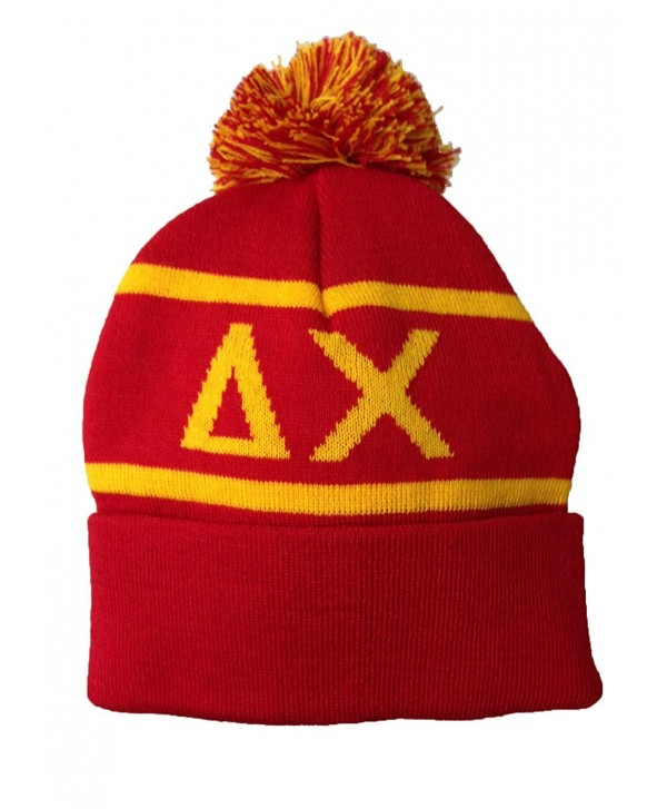 Delta Chi Fraternity Letter Winter Beanie Hat Greek Cold Weather Winter Officially Licensed - CR11Q0VY2BD