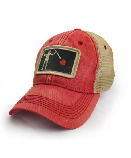 Blackbeard Pirate Flag Trucker Hat- Nautical Red - CM12O636XCP