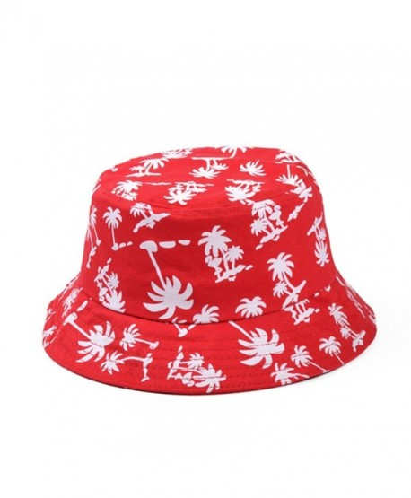 Zipper Graffiti Flat Bucket Hat with Coconut Tree Pattern Outdoor Hatsun Hat (red) - CZ12C2BMKYZ
