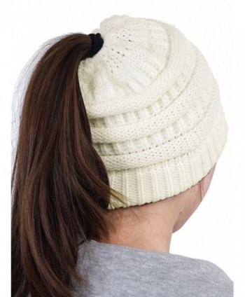 HENCY Women's Beanie Hat Soft Stretch Cable Knit Messy High Bun Ponytail Warm Skullies Cap - White - CY1889EWO4T