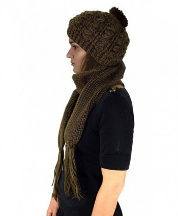 Peach Couture Cable Knit Beret Beanie Hat and Scarf Set - Green - CM11IGDMK1R