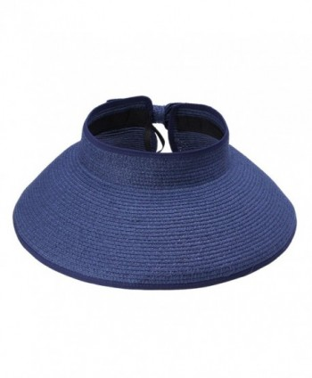JTC Womens Ladies Straw Hat Wide Brim Roll-up Sun Visor 13 Colors - Navy - CC11KVFSRMT