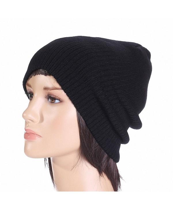 Maoko Unisex Slouchy Winter Hats Knitted Skull Caps Soft Warm Beanie - 074-black - CX12MKARLUP