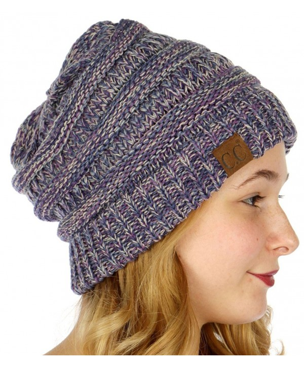 SERENITA C.C Unisex 4 Tone Multicolor Warm Cable Knit Thick Beanie Hat - Purple/Dk. Denim/Beige/Navy - CT186GA6NCX