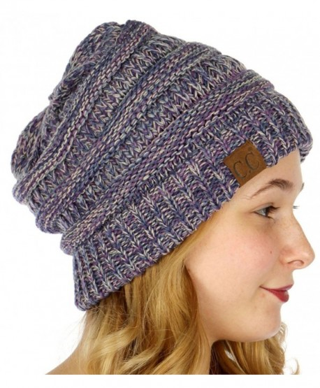 b75133c9dbc SERENITA C.C Unisex 4 Tone Multicolor Warm Cable Knit Thick Beanie Hat -  Purple Dk