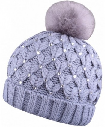 Winter Pom Pom Beanie Beanies For Women Pompom Knit Hat With Bling Rhinestone - Gray - C8187C0EADX