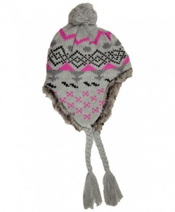 Dakota Dan Checkered Peruvian Knit Tassel Hat with Pom Pom & Faux Fur - Gray - CC11HG8ODE5