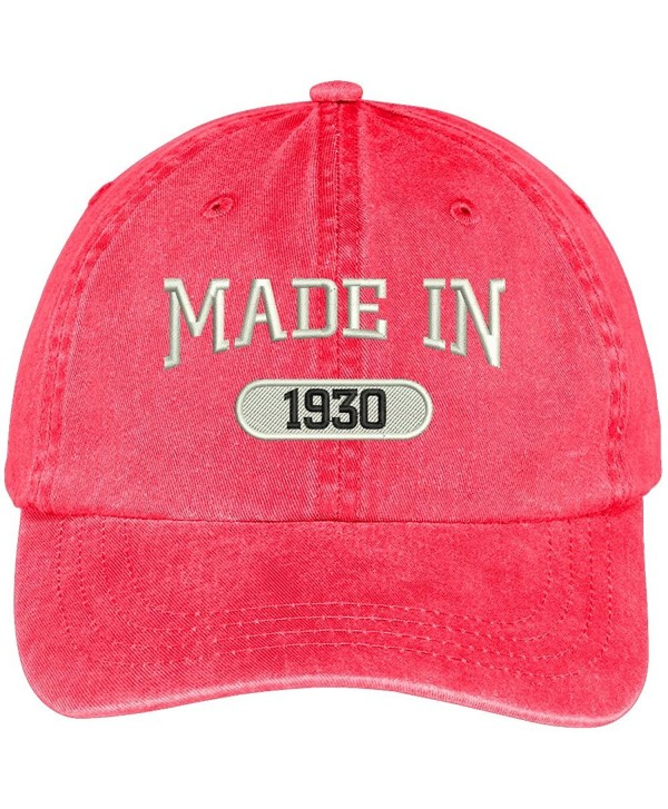 Trendy Apparel Shop 88th Birthday - Made In 1930 Embroidered Low Profile Washed Cotton Baseball Cap - Red - CT17YELY8G5