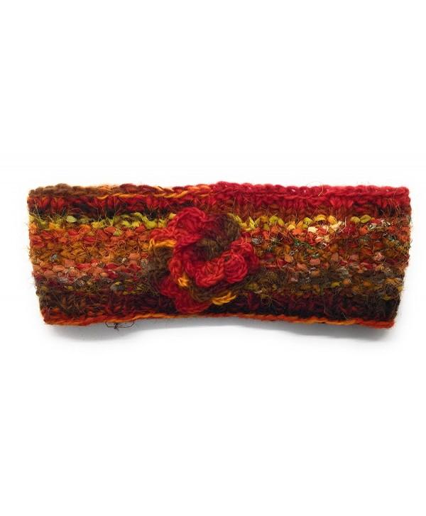 Hand Knit Winter Ear Warmer Headband Warm Wool Fleece Lined - Red - CT188776Q5L