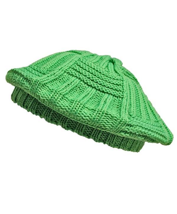 Luxury Divas Slouchy Knit IVY Beret Hat - Green - CI11GQUVAUX