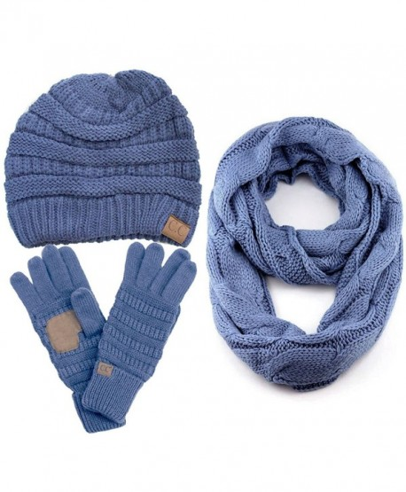ScarvesMe CC 3pc Set Trendy Warm Chunky Soft Stretch Cable Knit Beanie Scarves Gloves Set - Denim - CN187GLEQ5R