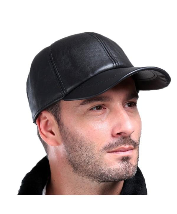 Vemolla Baseball Cap Genuine Sheepskin Adjustable Unisex Leather Baseball Hats - Black - CA12O4RT5RS