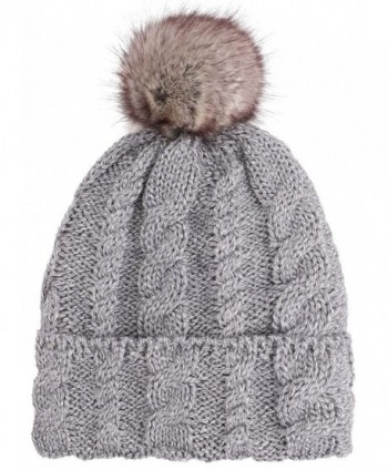 Arctic Paw Braided Heather Cable Knit Beanie with Faux Fur Pompom - Grey - C6185LUNZTN