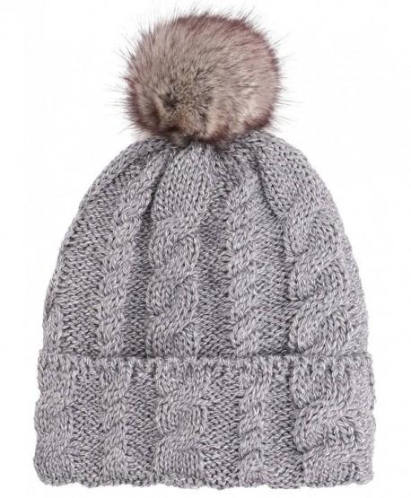 104a5fee6dc54b Arctic Paw Braided Heather Cable Knit Beanie with Faux Fur Pompom - Grey -  C6185LUNZTN