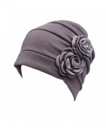Highpot Women Flowers Head Cap Chemo Beanie Cancer Hat Scarf Turban Wrap Cap - Gray - CC184S8T9EU
