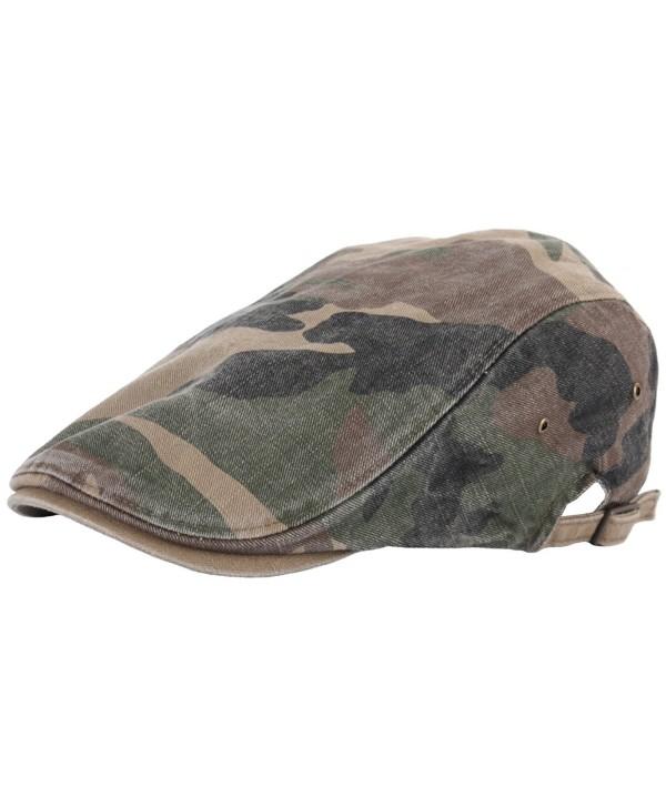 RaOn N11 New Vintage Feel Gatsby Army Fabric Camo Military IVY Cap Cabbie newsboy Hat - Green - CC129DH5WEV