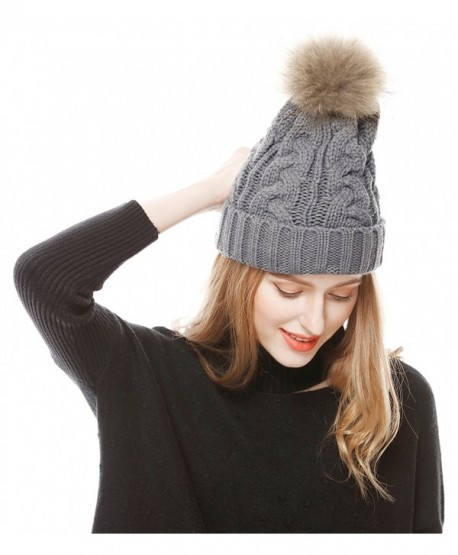 f34f73d08f3 Lovful Women s Winter Hand Knit Real Fur Pompoms Beanie Hat - Light Gray -  CS12MZIB5CH