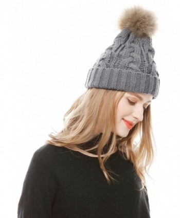 aad4b5511 Women's Winter Hand Knit Real Fur Pompoms Beanie Hat - Light Gray -  CS12MZIB5CH