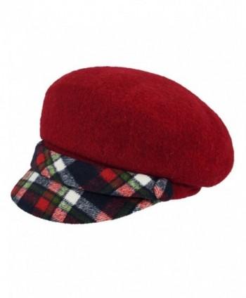 Dahlia Women's Wool Blend newsboy Hat - Belt Accent Plaid Visor - Red - CY128J6YJHN