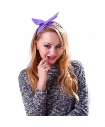 HDE Women's Retro Rockabilly Headband Vintage Styled Rabbit Ear Wired Hair Bow - Purple - CD11LGOOW55