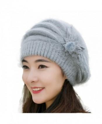 Womens Beanie -Winter Knitted Hat Headwear Earmuffs Snow Ski Caps for Women - Grey - CA1895AHEAS