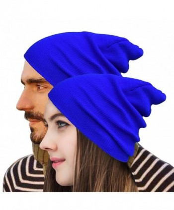 Raylarnia Beanie Warm Comfortable Soft Oversized Thick Cable Knitted Hat Unisex Knit Caps - Royal Blue - CQ184WG5NDG