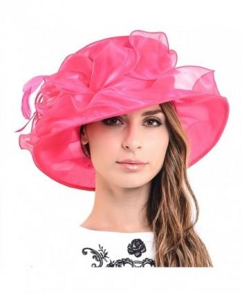 HISSHE Womens Church Dress Derby Wedding Floral Tea Party Hat Ss-035 - Hot Pink - CR11ZHNXDGF