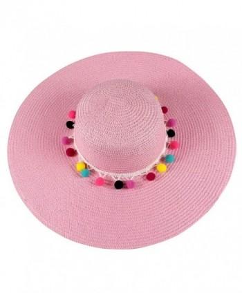 Floppy Hat with Pom Pom Band - Pink - CP18528Z88H