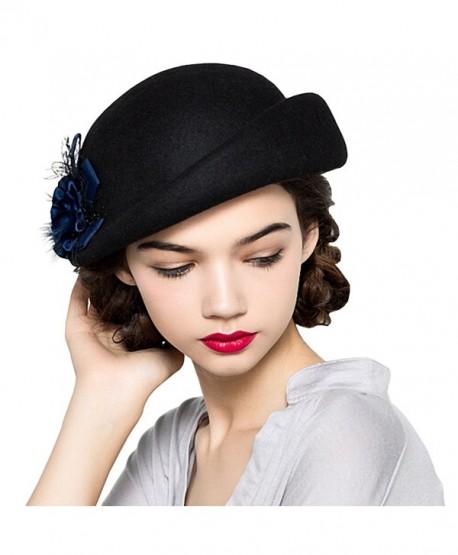 Maitose Women's Lace Flower Wool Beret Cap - Black - CS12MCIFWI9