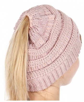 Plum Feathers Beanie Tail Soft Stretch Cable Knit Messy High Bun Ponytail Beanie Hat - Rose Metallic - C6188AL7YYE