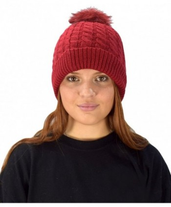 Peach Couture Classic Womens Warm Hand Knit Pom Thick Winter Ski Snowboard Hat - Red 18 - C11884WWU7L