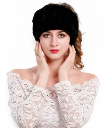 CR Women's Rabbit Fur Headband Winter Wrap Cap For Winter Earwarmer Earmuff Hat Ski - Black - CN186ZOGXOE